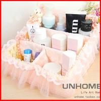 Pink rabbit remote control storage basket rustic rattan storage box lace cosmetics storage box