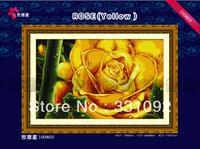 Elegant Yellow Rose 11CT precise printed aida fabric handmake cross-stitching kits free shipping
