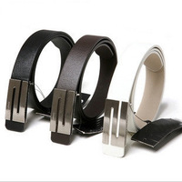 Male strap Men belt genuine cowhide leather belt brown white all-match brief the trend of flat panel  cinto de couro