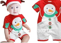new Baby Christmas Romper children Christmas clothing cotton boy and girls Snowman onesies +hat 3set/lot