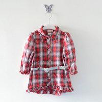 Children's clothing female child 100% paillette cotton plaid shirt half sleeve