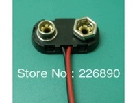 TB  type shell shape 9V battery snap connector with two black and red 100-150mm 24# wires , 1000pcs/lot