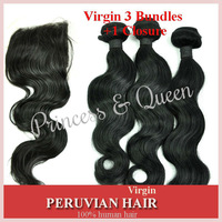 "5A Virgin Peruvian Human Hair Body Wave 3 Bundles With 4X4 Lace Closure 10""-24"" 4pcs Lot Mixed Length For Sale"
