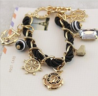 Free Shipping(MOQ 10$) 18KGP Pirates Anchor Crystal Rhineston Bead Bohemia  Mix Knit Navy Women  Bracelet Wholesale