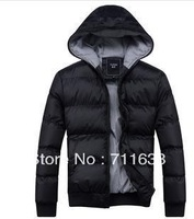 Free shipping 2013 men's casual hooded coat thicker version of Korean men padded winter clothes jacket