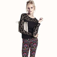 2014 New Women Velvet Polka Dot Mesh Black Sexy T-shirt Long Sleeve