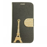 3D Handmade Crystal Pearl flower Rhinestone Tower Leather Case For Samsung Galaxy SIV S4 i9500 Cover