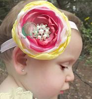 Wholesale - Baby Headband Hair Hoop sample Large diamond flower children hair accessories headband Girls mixed Flowers  -CL67A