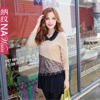 2013 women's long-sleeve paillette decoration lace shirt chiffon shirt faux two piece n46306x