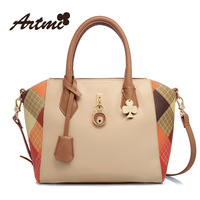 Artmi2013 handbag smiley women's patchwork fashion color block messenger bag free shipping wholesale high quality ivory colour