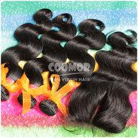 Malaysian Body Wave hair extension With Lace Top Closure 100% unprocess virgin hair natural 1B medium luster