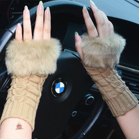 Honey gentlewomen all-match faux fur lucy refers to thermal yarn semi-finger gloves