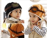 2013 Fashion Winter Baby Earflap Flight Hat Boy Warm Knitted Cap Children Earmuffs Kid Hats Pilot Caps Free shipping