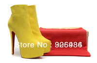 2014 New arrival Winter Yellow suede boots Sexy high heel platform ankle boots with zipper, hot brand spring short daf booties
