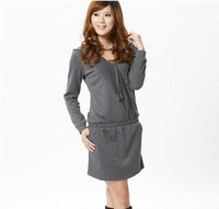 2013 New  Style V-neck Zipper Hood Dress Grey QM13082736-1