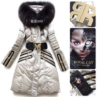 Женские пуховики, Куртки CLJ 2013 s winter women's fashion down coat suit with real fur PU wool liner zipper plus size christmas
