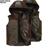 Spring new arrival male vest male PU leather vest with a hood slim villus patchwork vest