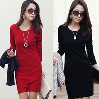 2013 autumn and winter elegant women's fashion patchwork hip slim basic slim plus size one-piece dress