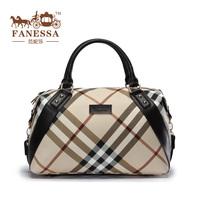2013 fashion british style plaid fashion all-match large bag genuine leather women's handbag