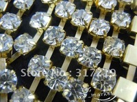 Free shipping Rhinestone cup chain ss38 Crystal Clear rhinestone Gold base 10 roll/lot Use for garments accessories