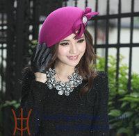 New Elegant Women Derby Wedding Kentucky Dress Hat Ladies Wool Bow Winter Felt Hat Lavander Brown