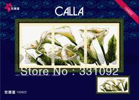 Triptych Calla 11CT precise printed cross stitch aida fabric needlework kits 123*53CM DIY home decoration