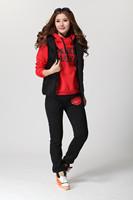 Womens Large Size Detachable Warm Winter 3pcs Suit Set Black Red Color Block Letter Hoodies+Vest+Long Pant Free Shipping w883