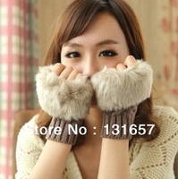 New 2013 Fashion Winter Women's Gloves, Knitted Fur Fingerless Gloves Mitts For Women.G-003