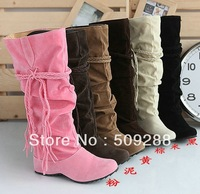 Free shipping Winter Thicken wedged Tassel Snow  Boots   Women Boots   Black Coffee yellow Beige Brown Pink color