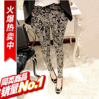 2013 autumn fashion elegant casual female cotton cloth mid waist vintage sports long trousers