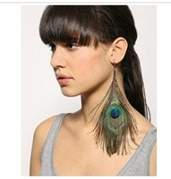 New Natural Peacock Feather Eye CLIP ON Earrings Drop Earrings 14cm