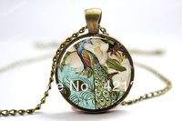 10pcs/lot Peacock Necklace, Victorian Style Peacock Jewelry Glass Art Pendant  Glass Cabochon Necklace