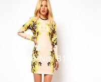 Free Shipping 2013 Autumn Womens Celeb O-Neck Long Sleeve Contrast Floral Print Color Block Stretch Bodycon Dress