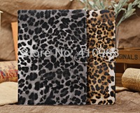 Free shipping 20pcs Leopard Leather Flip Cover Case For apple ipad 5 ipad air