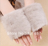 New 2013 Fashion Winter Women's Gloves, Imitation Rabbit Wool Gloves, Warm Fingerless Gloves Mitts For Women.G-032