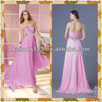 Simple A-line Floor Length Sweetheart Beaded Neckline Waist Pink Lilac Chiffon New Fashion Prom Dresses