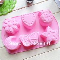 silicone 6 Even insect cake mold chocolate mold, baking tools, Crystal Epoxy resin molds, bread molds