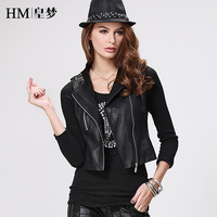 2013 autumn coat PU clothing female short design slim leather jacket women motorcycle personality