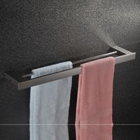Toalheiro barra duplo lat_o cromado 60 cm  Square Sus 304 Stainless Steel Chrome Double Towel Bar Mirror Polish Towel Rack