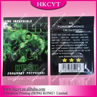 Custom hulk kush 4g herbal incense bag / spice potpourri bag / herbal incense bag wholesale