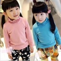 2013 Autumn Winter Hot Sale Girls Fashion Ruffles Turtleneck Long Sleeve T Shirt Children Basic Shirt 9 Colors Free Shipping