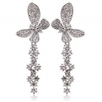 New arrival popular fashion accessories elegant luxury - full rhinestone butterfly tassel stud earring