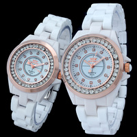 2014 Ceramic watches for men and women popular quartz elegant watch with diamonds freeship relojes para hombres y mujeres 8645