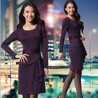 New 2013 autumn -summer fashion dresses women long sleeve dress OL commuter Slim asymmetry casual dress free shipping