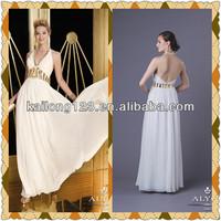Amazing Floor Length A-line Halter Sequin Beading Ivory Chiffon Prom Dresses