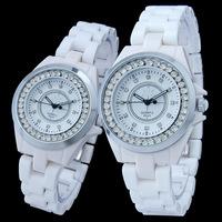 Free shipping new design fashion couple ceramic watches quartz diamond watch for men and women Relojes de ceramica watch 8645