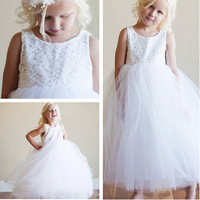 Free Shipping 2013 Round Neckline Sleeveless White Lace Top Flower Girl Princess Dresses Ankle Length F1058