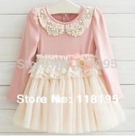 Hot sale girls kids mesh long sleeve dress girl's princess lace dresses Pearl collar  spring autumn clothing wear free shiping