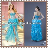 Allure Sweetheart Ruffled Straight Floor Length Beaded Bodice Turquoise Organza Rhinestones Prom Dresses