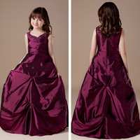 Free Shipping 2013 V Neck Sleeveless Beaded Ruched Taffeta Burgundy Flower Girl Dresses Floor Length F1060